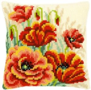 flores punto cruz cojín 2