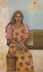 mujer vestido flores