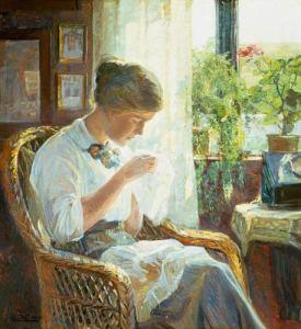 cosiendo en la ventana