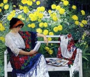 leyendo en el jardín