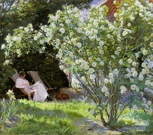 FAS45462 Roses, or The Artist's Wife in the Garden at Skagen (oil on canvas);Kroyer, Peder Severin (1851-1909);oil on canvas;600 X 532;Skagens Museum, Denmark;Out of copyright