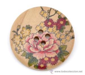 botón flores madera