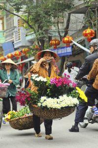 flores en la calle