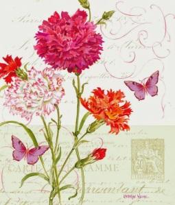 tarjeta vintage flores varias