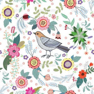 beautiful vintage pattern with a bird and flowers