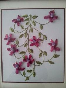 cuadro de flores bordado