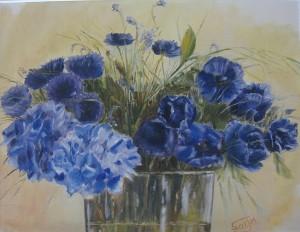 cuadros flores azules
