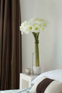 deco flor amarilis blanca