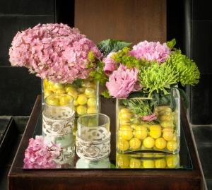 florero hortensias