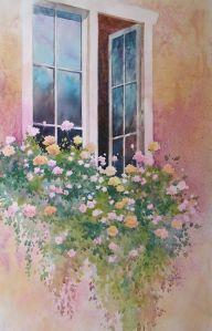 flores en la ventana