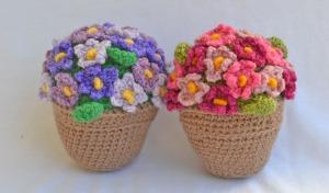 flores ganchillo en maceta
