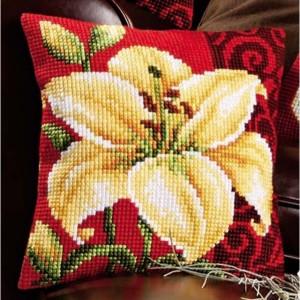 flores punto cruz cojín 4