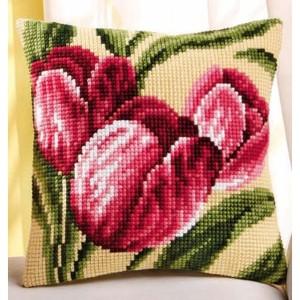flores punto cruz cojín tulipanes