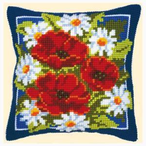 flores punto cruz cojín