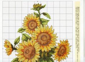 flores punto cruz girasol 2