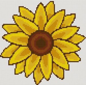 flores punto cruz girasol