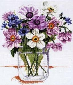 flores punto cruz jarrón