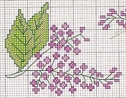 flores punto cruz lilos