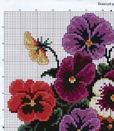 flores punto cruz pensamientos