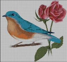 flores punto cruz rosa y pájaro