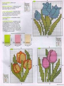 flores punto cruz tulipanes