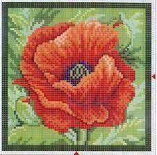 flores punto de cruz amapola