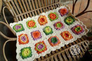 ganchillo alfombra flores