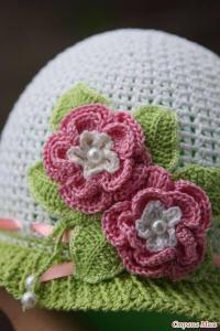 ganchillo gorro flores 3