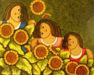 girasol pintura mujeres