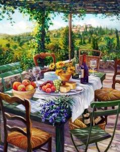 girasoles en la mesa