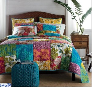 GORGEOUS-Colorful-Handmade-100-Cotton-Three-Piece-Bedding-Set-Bed-Linen-Queen-Size-Patchwork-Bedspread-Bedclothes
