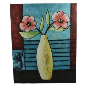 jarrón flores cuadro