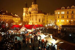Christmas Market In Prague's Old Town Square at night time