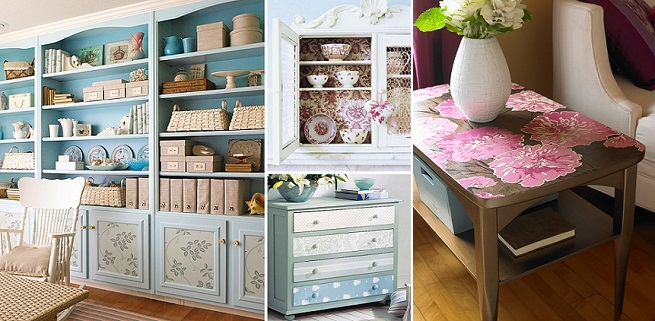 Muebles pintados muebles floreados creciendoentreflores - Decorar muebles con tela ...