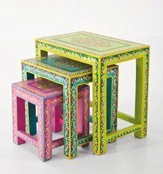 muebles pintados mesas nido