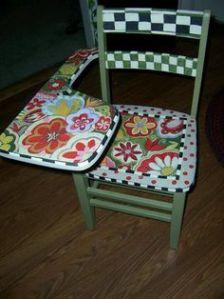 muebles pintados silla con mesa