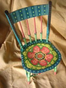 muebles pintados silla flor