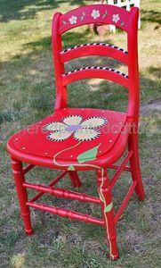 muebles pintados silla trébol