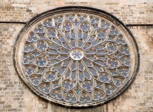 Barcelona - rosette of gothic church Santa Maria del Pi