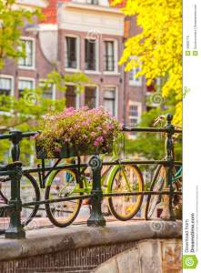 summer-view-bicycles-dutch-city-amsterdam-flowers-canal-bridge-45600775
