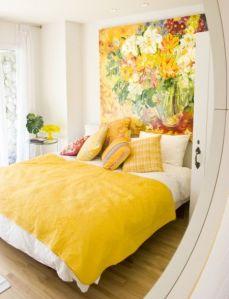 cama cabecero pintado flores