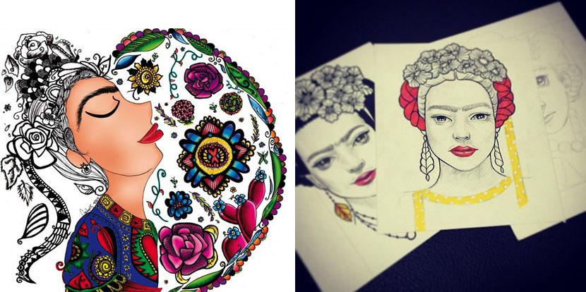 Dibujos Para Colorear De Frida Kahlo: Flores En La Pintura (VI) : Las Flores De Frida