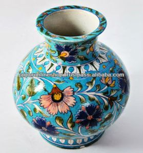 Indian_Blue_Pottery_Flower_Vase_Hand_painted