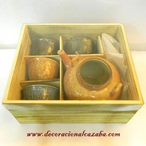 juego-de-tetera-4-tazas-de-ceramica-esmaltada-con-asa-metalica