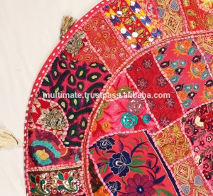 Round-Floor-cushion-cover-Indian-Patchwork-Sari