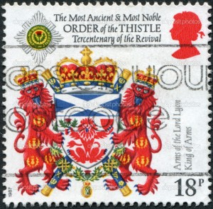 UNITED KINGDOM - CIRCA 1987: A stamp printed in England, dedicated to 300th Anniversary of Revival, shows the Order of the Thistle, Scotland, circa 1987