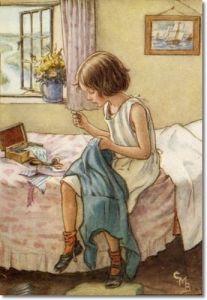 cosiendo niña azul