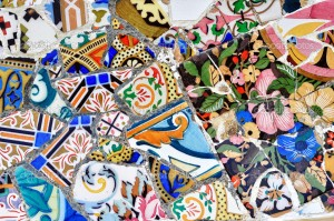 Part of Gaudi mosaic in Guell park in Barcelona, Spain, Europe