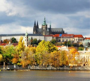 PRAGUE, CZECH REPUBLIC - OCTOBER 04: Charles Bridge , Prague Castle, Parizska Shopping Street and Staromestske namesti on 04 2009 in Prague. This is the most central and beautiful places.