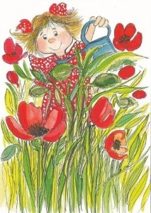 jardinería niños amapola